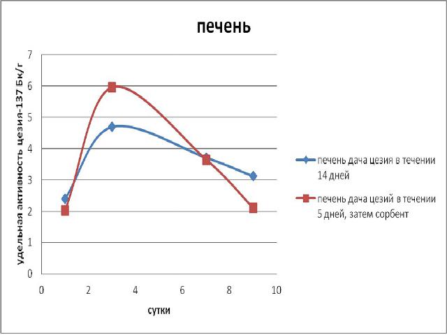 Эксперимент по применению Сорбента / адсорбента микотоксинов Сапросорб по выведению радионкулидов и радиации Цезий 137 из печени
