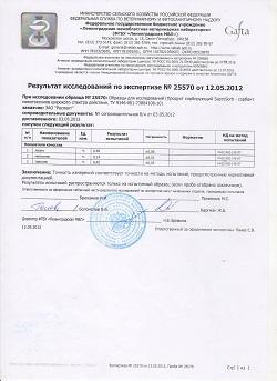 Результат исследования кормовой добавки для животных сорбента/адсорбента Сапросорб Saprosorb на лизин, метионин, треонин