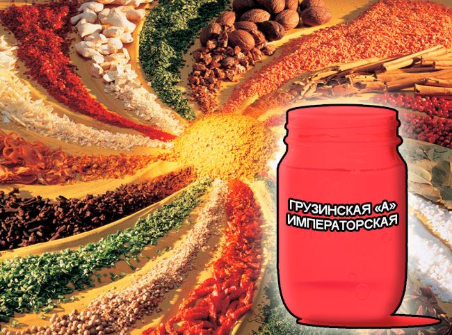 """Смеси специй от компании респект для мяса, сухие смеси Императорские для маринадов - Грузинская """"А"""" Императорская - Состав: Усилитель вкуса (Е-621), загустители (Е-410, Е-412, Е-415), молочный белок, сахар, соль поваренная, регулятор кислотности (Е-330) и оригинальный состав пряностей: перец черный в/р, перец красный жгучий, кориандр, корица, тмин, имбирь, карри, укроп, морковь, паприка, сельдерей."""